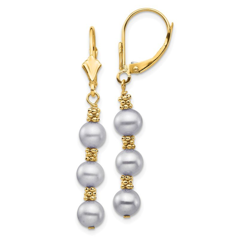 Quality Gold 14k 5-6mm Grey Semi-round Freshwater Cultured Pearl Leverback Earrings