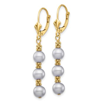 14k 5-6mm Grey Semi-round Freshwater Cultured Pearl Leverback Earrings