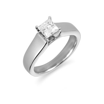14K WG Diamond Solitaire Ring Princess Cut