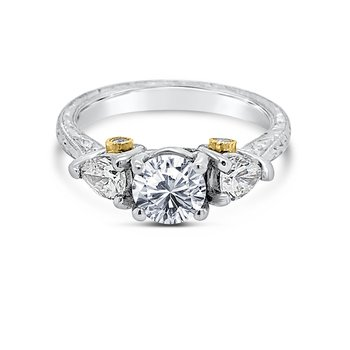 Platinum 18K Yellow Gold Diamond Engagement Ring