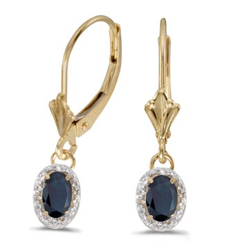 10k Yellow Gold Oval Sapphire And Diamond Leverback Earrings