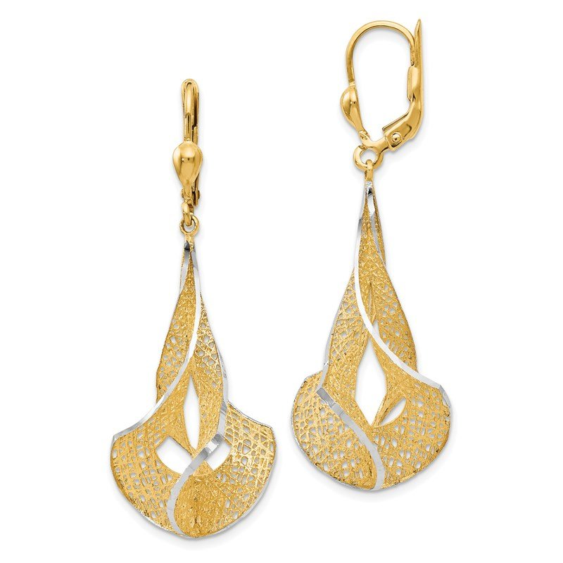 Leslie's Leslie's 14K Rhodium-plated Polished D/C Filigree Leverback Earrings