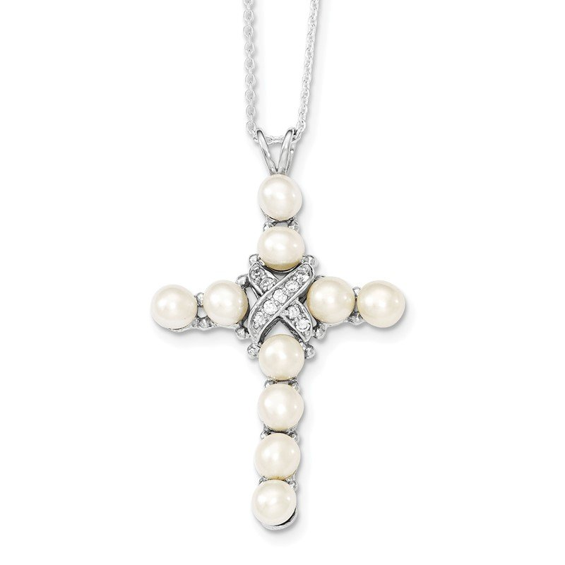 Quality Gold Sterling Silver Rhodium-plated CZ and FW Cultured Pearl Cross Necklace