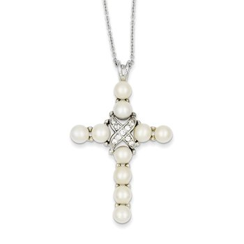 Sterling Silver Rhodium-plated CZ and FW Cultured Pearl Cross Necklace