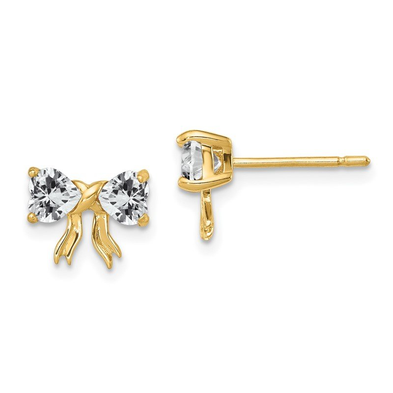 Quality Gold 14k Gold Polished White Topaz Bow Post Earrings