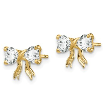14k Gold Polished White Topaz Bow Post Earrings