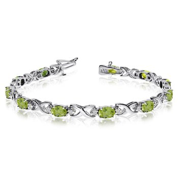 14k White Gold Natural Peridot And Diamond Tennis Bracelet