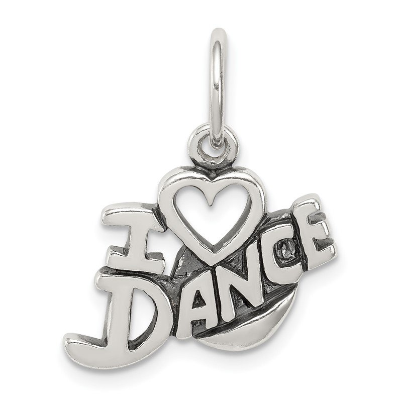Quality Gold Sterling Silver Antiqued I Love Dance Charm