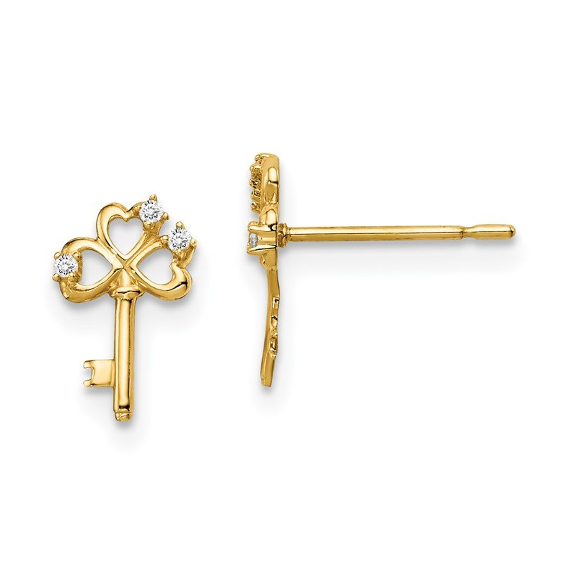Quality Gold 14k Madi K CZ Key Post Earrings