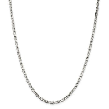 Sterling Silver 3.95mm Beveled Oval Cable Chain