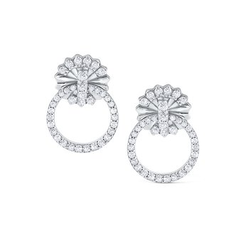 14K Open Circle Diamond Earrings