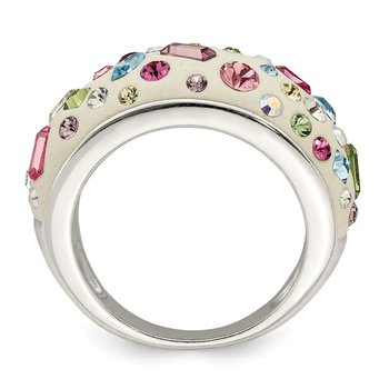 Sterling Silver Stellux Crystal Multi-Color White Ring