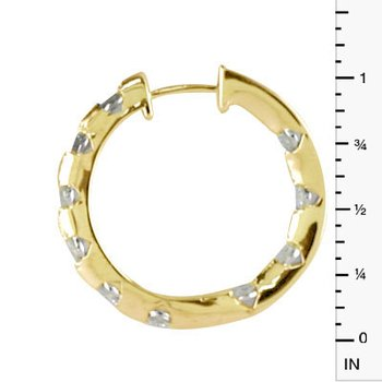 14k Yellow Gold 1.00 Ct Diamond Inside Outside Hoop Earrings