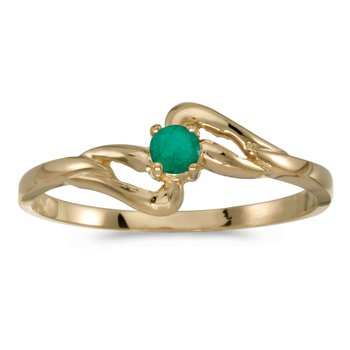 14k Yellow Gold Round Emerald Ring