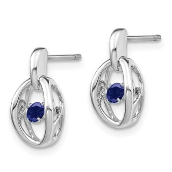 Sterling Silver Rhodium Created Blue Sapphire Birthstone Vibrant Earrings