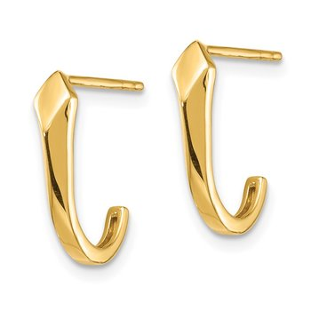14K J-Hoop Post Earrings