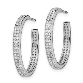 Sterling Silver Rhodium-plated CZ 20x3mm C-Hoop Earrings