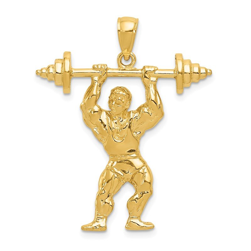Quality Gold 14k Bodybuilder with Weights Pendant