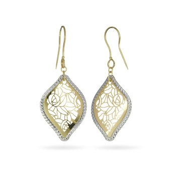 14K YW Laser Cut Leaf Shape Dangling Earring