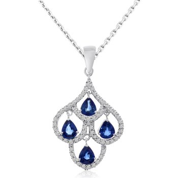 14k White Gold Sapphire and Pear Diamond Chandelier Pendant