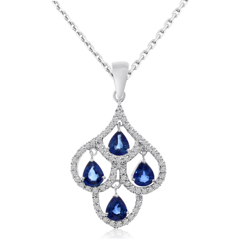 Color Merchants 14k White Gold Sapphire and Pear Diamond Chandelier Pendant