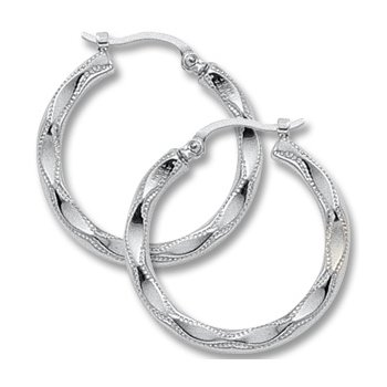 14kt Wh Embossed Hoop Earrings