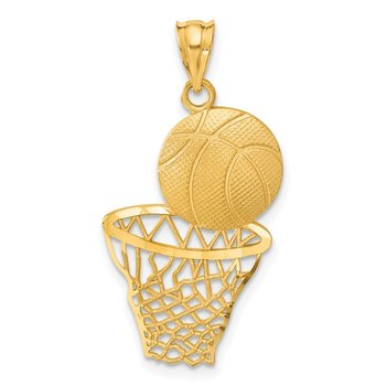 14K Satin Diamond-Cut Basketball and Net Pendant