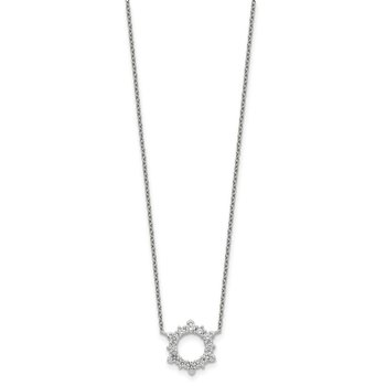 Sterling Silver CZ Sunburst Necklace