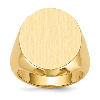 14k 20.0x18.0mm Closed Back Men's Signet Ring