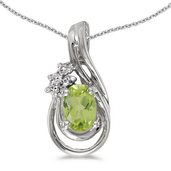 10k White Gold Oval Peridot And Diamond Teardrop Pendant