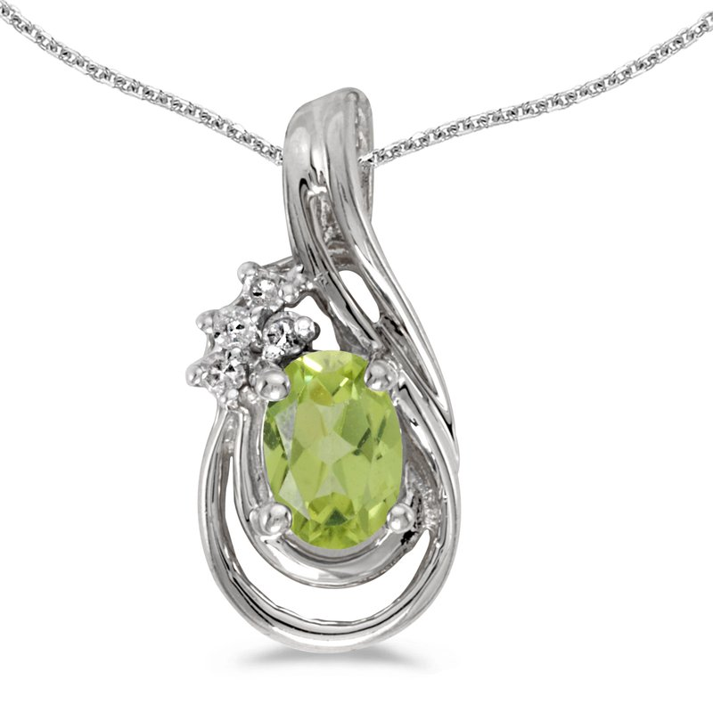 Color Merchants 10k White Gold Oval Peridot And Diamond Teardrop Pendant
