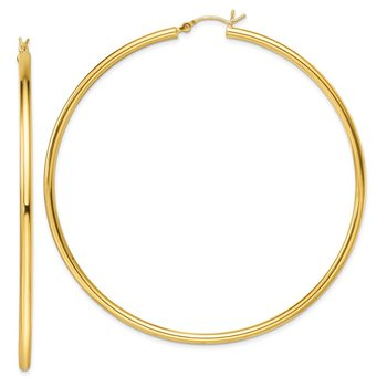 Sterling Silver Gold-Tone Polished 2.5x70mm Hoop Earrings