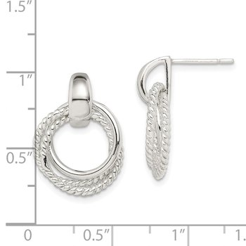Sterling Silver Twisted Post Dangle Earrings