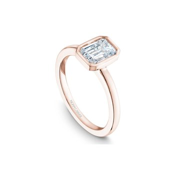 Bezel Set Emerald Cut Solitaire Engagement Ring
