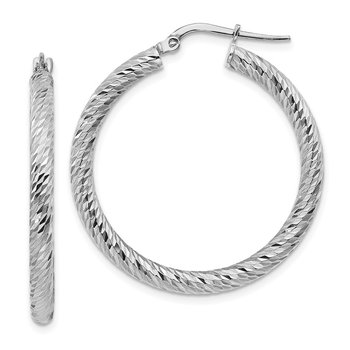 10k 3x25 White Gold Diamond-cut Round Hoop Earrings