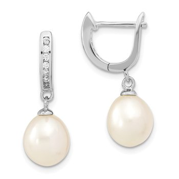 Sterling Silver Rhodium-plated 8-9mm Rice FWC Pearl CZ Dangle Hoop Earrings