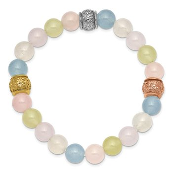 Stainless Steel Polished Rose/Yellow IP MultiColor Chalcedony Stretch Brace