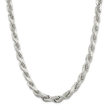 Sterling Silver 10.25mm Diamond-cut Rope Chain