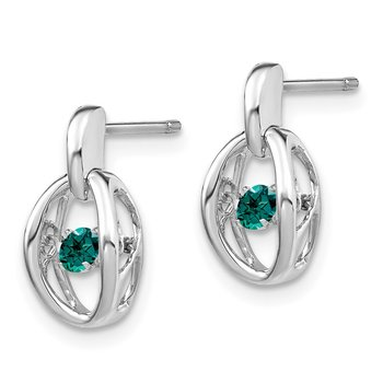 Sterling Silver Rhodium Created Alexandrite Birthstone Vibrant Earrings