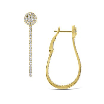 Diamond Oblong Hoop Earrings Set in 14 Kt. Gold