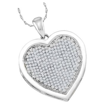 10kt White Gold Womens Round Diamond Heart Love Pendant 1/2 Cttw