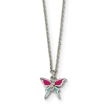 Sterling Silver Polished & Enameled CZ Butterfly 14in Children's Necklace