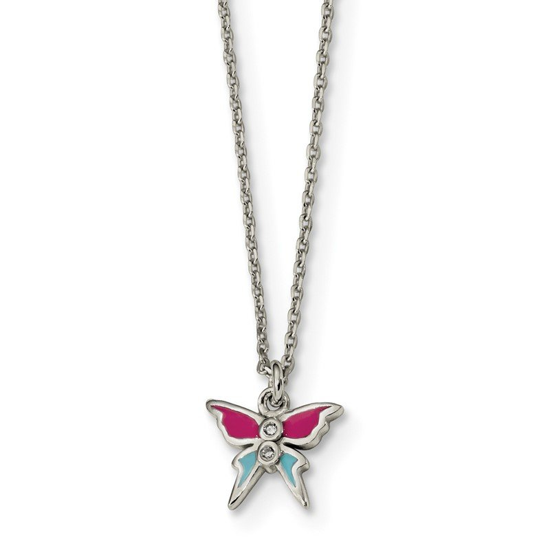Quality Gold Sterling Silver Polished & Enameled CZ Butterfly 14in Children's Necklace