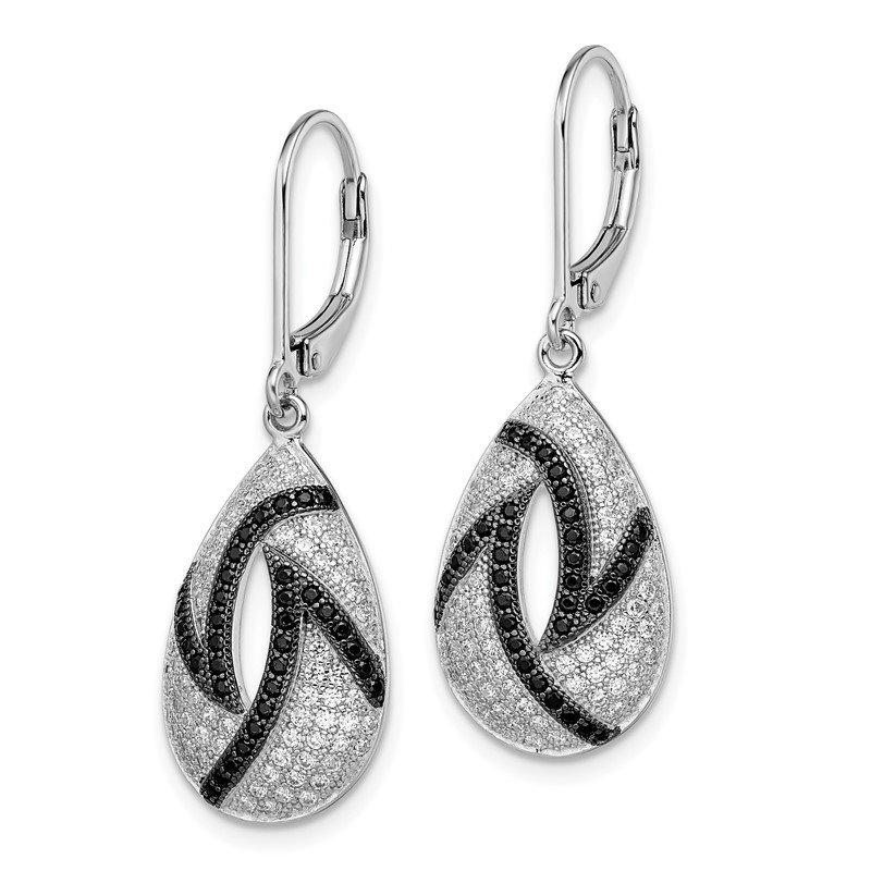 Quality Gold SS Rhodium-Plated CZ Brilliant Embers Teardrop Leverback Earrings