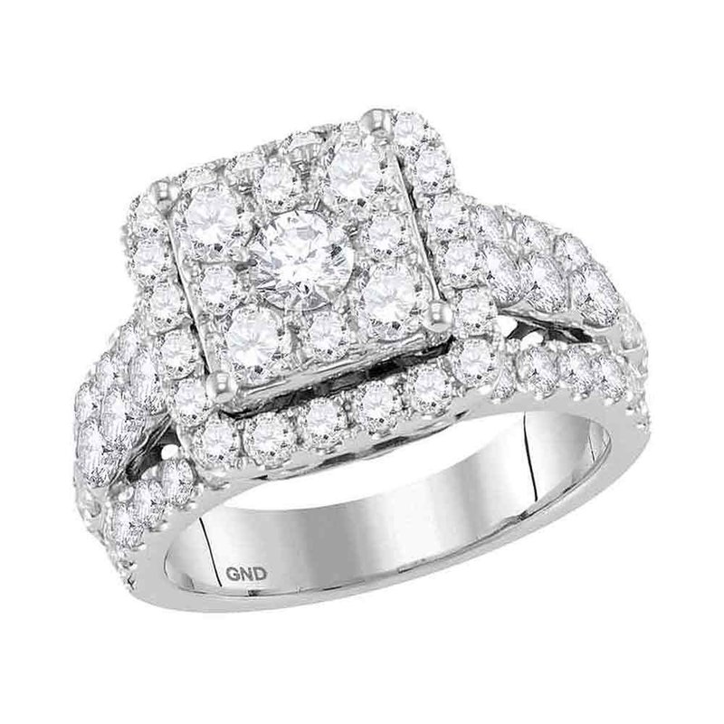 Gold-N-Diamonds, Inc. (Atlanta) 14kt White Gold Womens Round Diamond Square Cluster Bridal Wedding Engagement Ring 3.00 Cttw