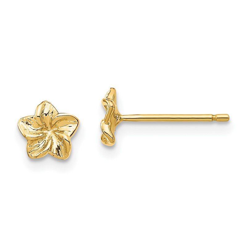 Quality Gold 14k Plumeria Flower Post Earrings