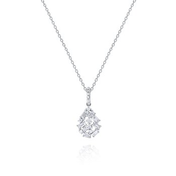 Diamond <b>Mosaic</b> Drop Pendant Necklace Set in 14 Kt. Gold
