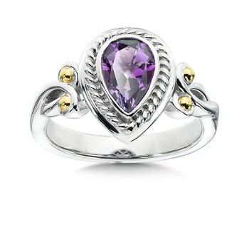 Sterling Silver, 18K Gold and Amethyst Ring