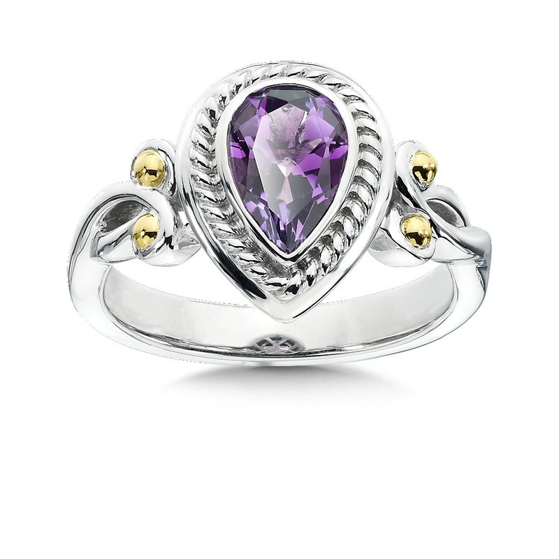 Colore Sg Sterling Silver, 18K Gold and Amethyst Ring