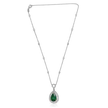 Double Halo Emerald Necklace
